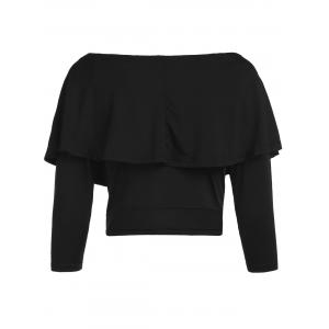 Stylish Off The Shoulder Flouncing Cropped T-Shirt For Women - BLACK 2XL