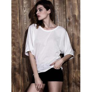 Stylish Round Neck Half Sleeve White Backless Women's T-Shirt -