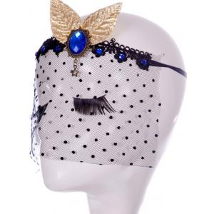 Faux Sapphire Leaf Hair Accessory Party Mask - BLACK