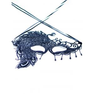Faux Lace Peacock Feather Party Mask - BLACK