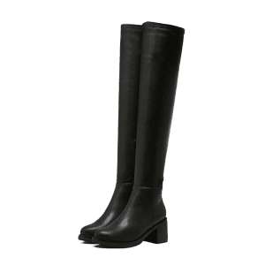 Round Toe Platform Zipper Thigh Boots - BLACK 39