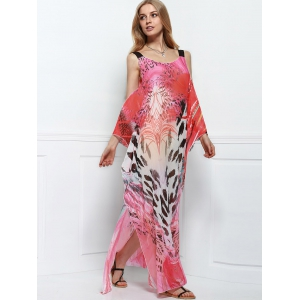 Cutout Colorful Long Chiffon Cover-Up Dress - COLORMIX ONE SIZE(FIT SIZE XS TO M)