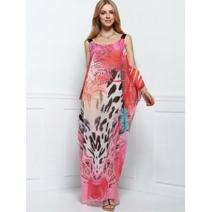 Cutout Colorful Long Chiffon Cover-Up Dress -