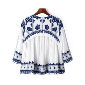Casual Lace-Up Blue and White Porcelain Pattern Women's Blouse - BLUE/WHITE L