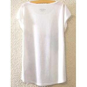 Stylish Round Neck Bat-Wing Sleeve Figure Print Women's T-Shirt - WHITE ONE SIZE(FIT SIZE XS TO M)