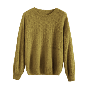 Dropped Shoulder Basic Sweater - BLUISH YELLOW ONE SIZE