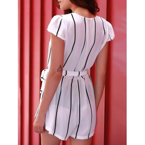 Active Deep V Neck Short Sleeve Vertical Stripes Women's Romper -