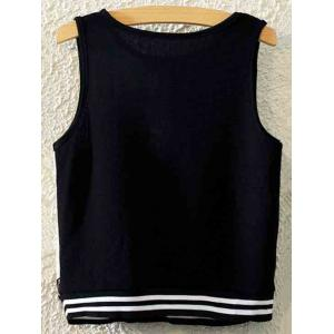 Stylish Round Neck Floral Print Women's Tank Top - BLACK ONE SIZE(FIT SIZE XS TO M)