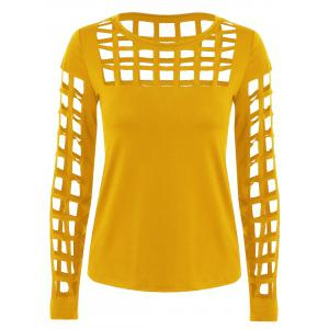 Long Sleeve Ripped Cutout Tee - Yellow Ocher - Xl