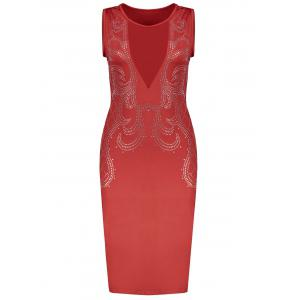 Low Cut Mesh Sequined Bodycon Dress - Red - Xl