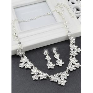 Fake Crystal Flower Wedding Jewelry Set - SILVER