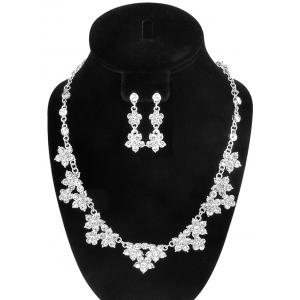 Fake Crystal Flower Wedding Jewelry Set