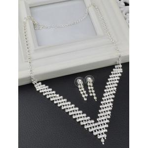 Rhinestoned Hollow Out Wedding Jewelry Set -