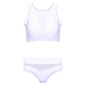 Mesh Design High-Waisted Two-Piece Women's Swimsuit -