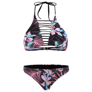 Halter Floral Cut Out Bikini Set -