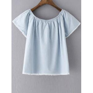 Stylish Short Sleeve Off The Shoulder Solid Color Women's T-Shirt -