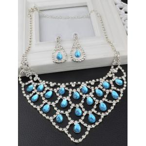 Hollow Out Teardrop Rhinestone Jewelry Set -