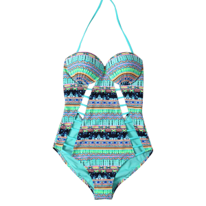 Cut Out Halter Neck One Piece Swimsuit -