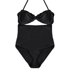 Halter Cut Out Bowknot One-Piece Swimwear -