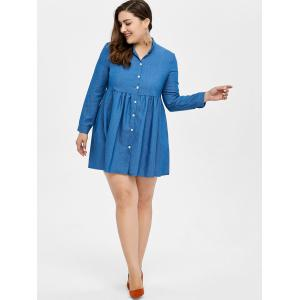 Plus Size Button Up Short Denim Jean Tunic Dress - BLUE 5XL