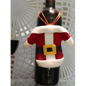 Christmas Party Table Decor Santa Clothes Tableware Holder Bag - RED WITH WHITE