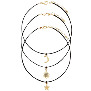 Retro Style Moon Star Sun Layered Necklace Set