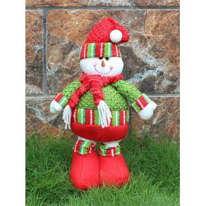 Festival Party Decor Stretched Snowman Christmas Puppet Toy - RED/GREEN