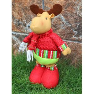 Festival Party Decor Stretched Deer Christmas Puppet Toy - RED AND GREEN