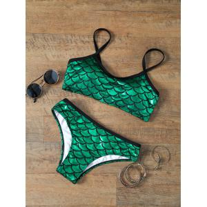 Scale Print Glitter Little Mermaid Metallic Bikini