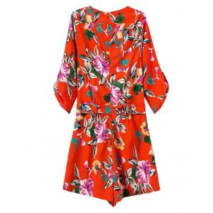 Tie Front Floral Romper with Sleeves -