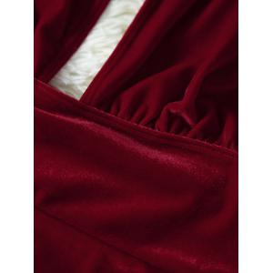 Velvet Open Back One Piece Swimwear - DEEP RED M