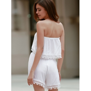 Stylish White Off The Shoulder Tank Top and High Waist Lace Spliced Women's Shorts - WHITE XL