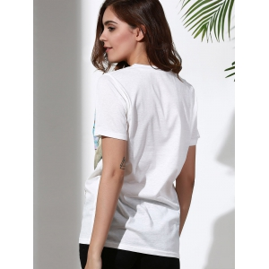 Round Neck Short Sleeve Sun Print Women's T-Shirt - WHITE XL