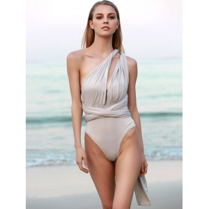Sexy Solid Color Backless Convertible Bodysuit For Women -