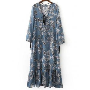 Stylish Plunging Neck Long Sleeve Printed Maxi Dress For Women