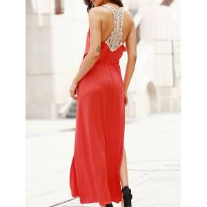Plunge Backless Maxi Slit Swing Dress