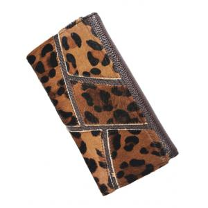 Trendy Splicing and PU Leather Design Wallet For Women - LEOPARD