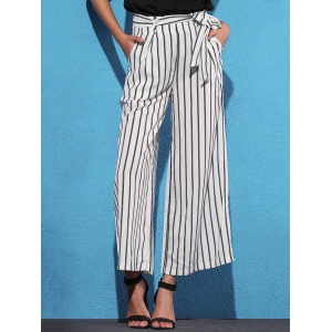 High Waist Striped Wide Leg Women's Pants -