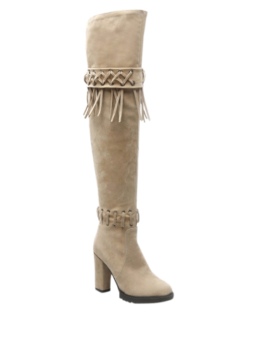 Latest Chunky Heel Fringe Criss-Cross Thigh Boots BEIGE 37