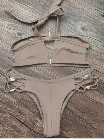 Strappy Halter Neck Cut Out Bikini - Apricot - S