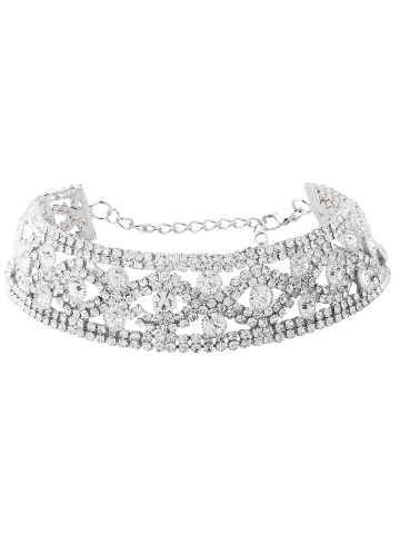 Affordable Rhinestone Eyes Hollow Out Metal Choker SILVER