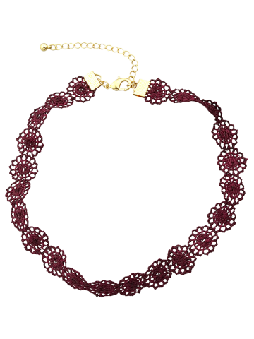 Fancy Lace Floral Hollow Out Necklace WINE RED