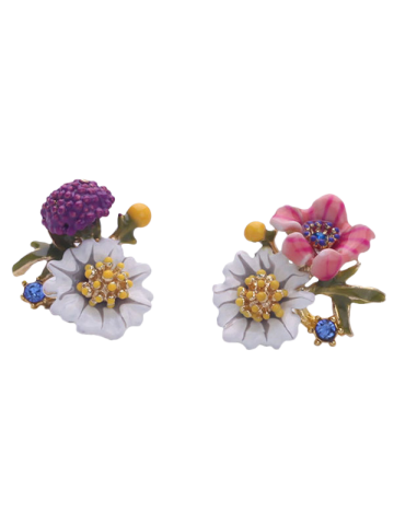 New Pair of Enamel Flower Stud Earrings