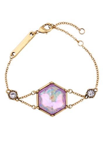 Faux Gem Rhinestone Hexagon Bracelet - Golden