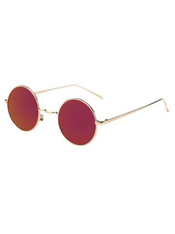 Trendy Metal Retro Round Mirror Sunglasses