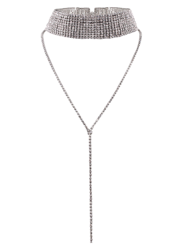 Best Long Wide Rhinestone Choker Necklace - SILVER  Mobile