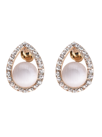 Latest Teardrop Hollow Faux Gem Earrings