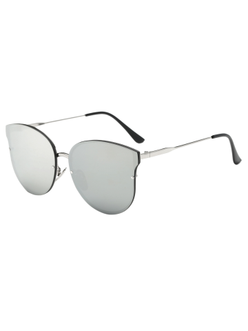 Full Rims Metal Mirrored Cat Eye Sunglasses - Silver