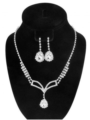 Affordable Rhinestone Embellished Teardrop Necklace and Earrings