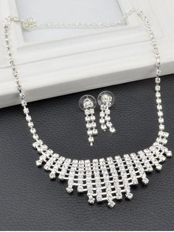 Affordable Rhinestone Hollow Out Necklace and Earrings - SILVER  Mobile